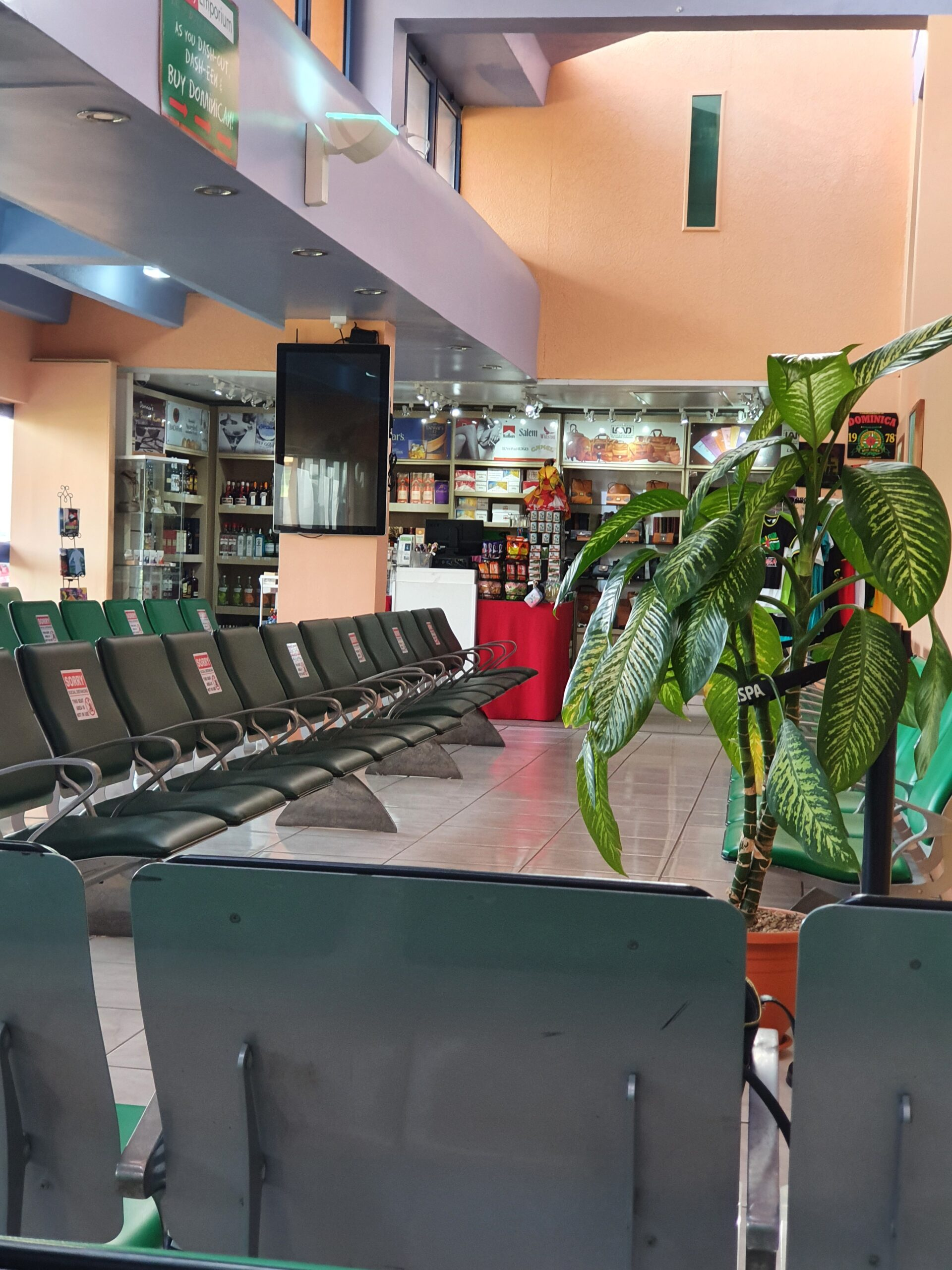 Departure lounge at Dominica airport.