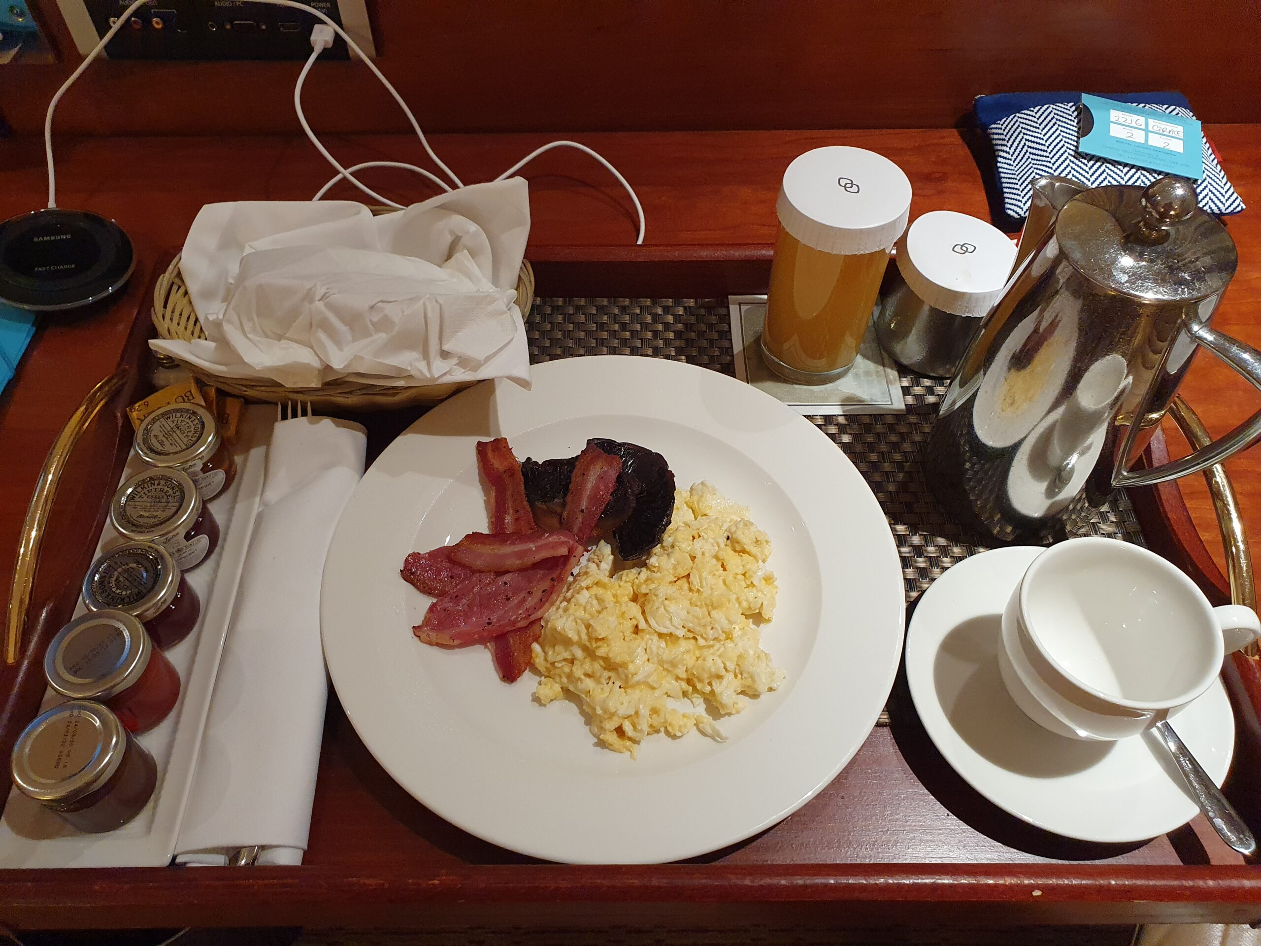 You can't see my big smile, but this was my ultimate treat. Room service :0)